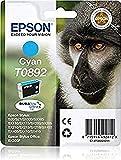 Epson Monkey Singlepack Cyan T0892 DURABrite Ultra Ink - Cartucho de tinta para impresoras (Original, Cian, Impresión por inyección de tinta, 141,8 mm, 112 mm, 30 mm)
