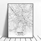 NOVELOVE Basel Stadt Schweiz Karte Poster HD Drucke