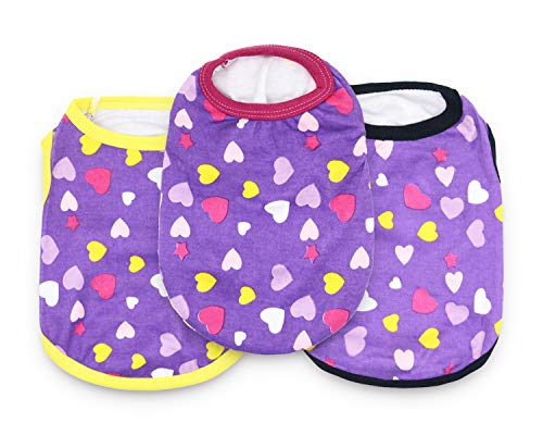 DroolingDog Puppy Clothes XS Dog T Shirt Girl Dog Clothes for Small Dogs, XS, Pack of 3