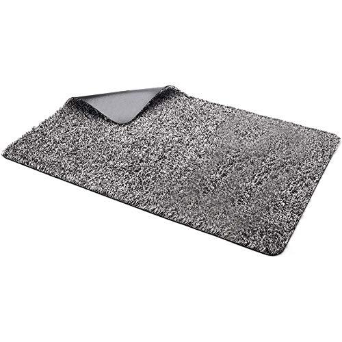 2-Pack 18x30 Microfiber Cotton Magic Non Slip Doormat Absorbs Water Mud Snow Dirt Front Door Welcome Mat Carpet Rug Low Profile No Pet Odor Machine Washable Absorbent Trapper Mats - Indoor Outdoor
