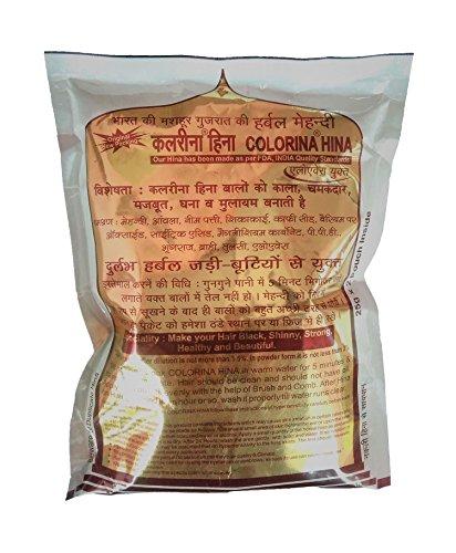 Colorina Hina Gujrati Herbal Henna Powder, Natural Black, 50g (Pack of 5) | Colors Hair not Skin