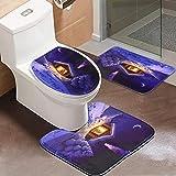 WH-IOE Alfombras de baño 3 Piezas de baño Set Franela Alfombra WC Navidad Antideslizante Alfombra Tapa de Pedestal Alfombra de Color púrpura Mat baño (Color : Purple, Size : One Size)