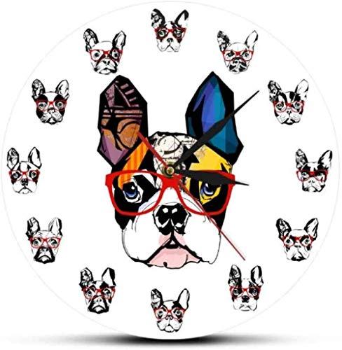 Relojes De Pared Retrato De Bulldog Francés Con Gafas De Sol, Reloj Colgante De Pared De Acrílico, Decoración De Tienda De Mascotas, Reloj De Pared, Regalo De Amante De Bulldog 30X30Cm