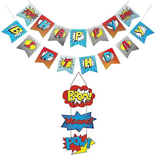 Superhero Banner, Superhero Happy Birthday Banner Superhero Deur Teken Thema Decoratie benodigdheden voor Kinderen Feestartikelen Decoraties