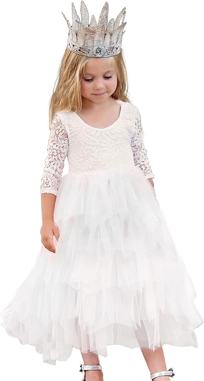 Flower Girl Dress Long Sleeves Lace Top Tulle Skirt,Birthday Dress with Tutu Skirt