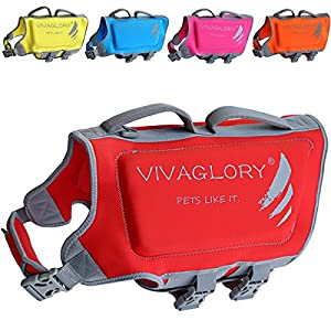 Vivaglory Dog Life Jacket, Neoprene Life Vest for Dogs with Dual Rescue Handles and Superior Buoyancy, Red, Large
