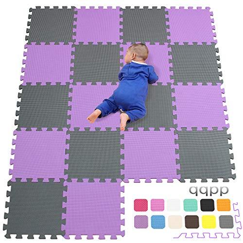 qqpp Alfombra Puzzle para Niños Bebe Infantil - Suelo de Goma EVA Suave. 18 Piezas (30*30*1cm), Morado & Gris.QQC-KLb18N