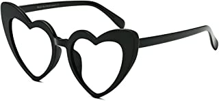 Stylish Glasses Women's Sunglasses Heart Shape Cat Eyes Big for Women PC Frame Rimmed Sunglasses Lady's Classic Retro Personality Driving Clothing Accessories (Color : Clear)