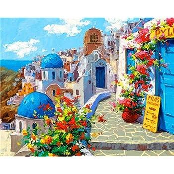 数字油絵 Diy デジタル油絵 子供 大人 初心者 50cmX40cmズ ホームインテリア-----サントリーニ島の風景 (フレームなし)