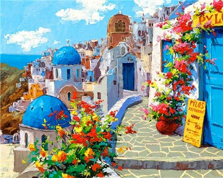 Paint by Numbers Kit for Adults Beginner DIY Oil Painting 16x20 inch - Santorini Landscape, Drawing with Brushes Christmas Decor Decorations Gifts (Without Frame)