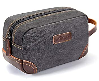 emissary Men s Toiletry Bag Leather and Canvas Travel Toiletry Bag Dopp Kit for Men Shaving Bag for Travel Accessories  Gray