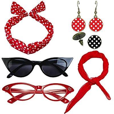 1950's Womens Costume Accessories - 50s Chiffon Scarf,Cat Eye Glasses,Bandana Tie Headband,Drop Dot Earrings (Black)