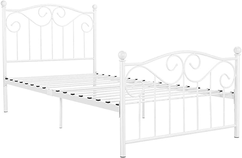 Yaheetech Kids Adults Metal Bed Frame Twin Size With Headboard And Footboard Mattress Foundation Easy To Put Together White