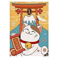 FJTPのれん戸口カーテン招き猫招き猫と富士山プリント浮世絵タペストリーキッチンビストロパーティションシェーディング室内装飾用