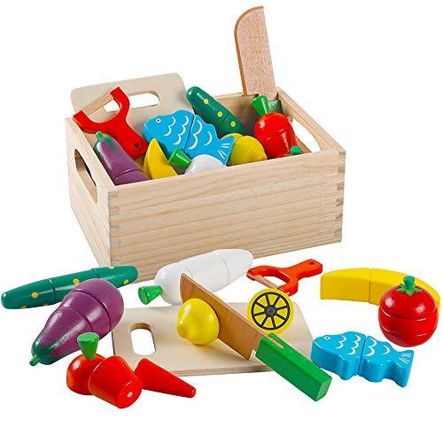 HVDHYY Giochi in Legno Taglio Frutta e Verdura Magnetico Giocattolo Cucina Legno Giocattoli di Simulazione Regalo di Natale Giorno dei Bambini Compleanno Una Sacchetto per 3 Anni Ragazzi e Ragazze