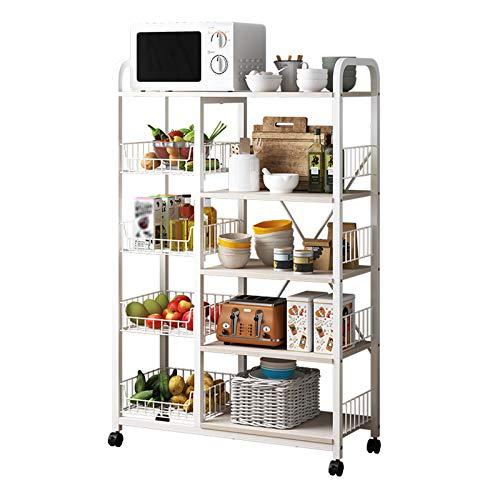 wfycw Carro extraíble de Cocina de 5 Capas, Estante para microondas, Estante para Almacenamiento de Platos, Blanco, 80 * 30 * 131 cm