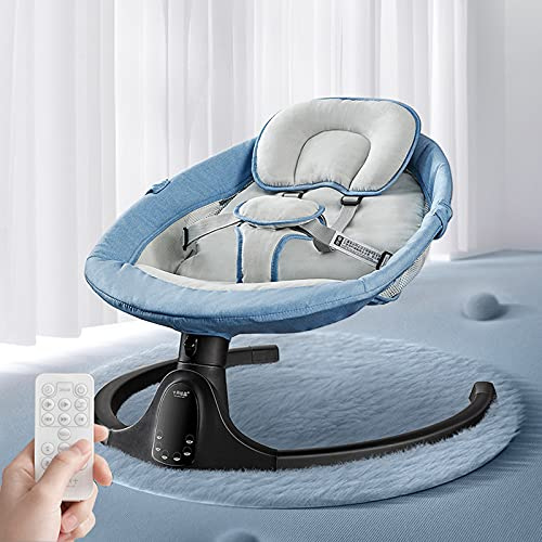 Utron Columpio Bebe Eléctrica con Mando A Distancia y Bluetooth, Mecedora eléctricos con Giro de 5 velocidades y sincronización de 3 Pasos,para 0-24 Meses Niños,Blue