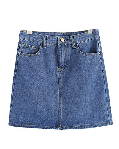 Damen Jeans Denimrock Minirock Jeansrock Jeans Denim Bleistiftrock Freizeit Rock Mit Taschen Dunkelblau XL