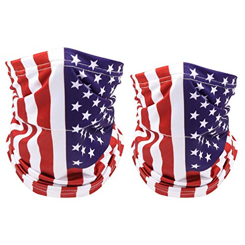 2 Pack American US Flag Face Bandana Balaclava for Kids Men Women Sun UV Dust Protection Reusable Half Mask Scarf Cycling Neck Gaiter