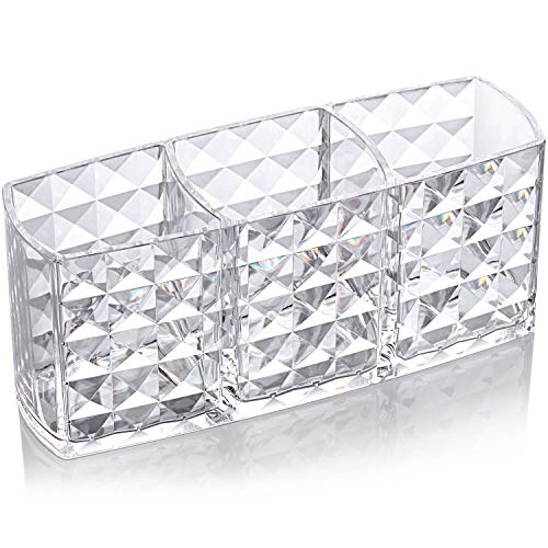 Tbestmax Shining Makeup Brushes Holder Organizer, Clear Eyebrow Pen Container, 3 Slot Acrylic