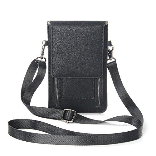 ebuymore Frauen Girl 's Leder Umhängetasche Geldbörse Handy Tasche w/Schultergurt für LG G5/LG V20/G Stylo 2/Motorola Moto G4/HTC 10/Huawei Mate 9/P9Plus, schwarz