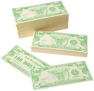 US Toy Play Money $100 Dollar Bill (1,000 pcs), 6 x 2 1/2 inches