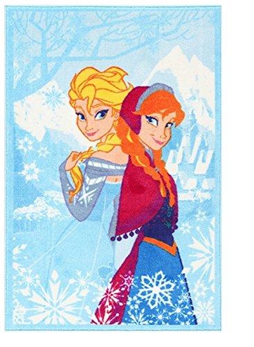 Kinder-Teppich kompatibel mit Eiskönigin für Mädchen I rutschfest I Anna und ELSA Teppich fürs Kinderzimmer I Spiel-Teppich blau 140 x 80 cm