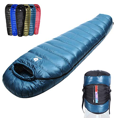 Anyoo Mummy Goose Down Sacco a Pelo Ultralight Portable 3 Season per Backpacking Hiking Camping Indoor & Outdoor per Adulti