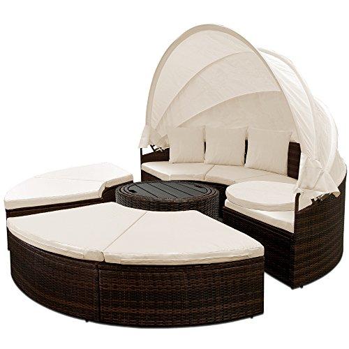 Deuba Poly Rattan Sonneninsel 185 cm faltbares Dach 7cm Auflagen 3 Kissen WPC Tisch Wetterfest XXL Rund Outdoor Braun