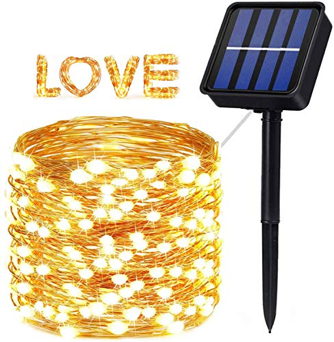 Solar Fairy Lights Outdoor,200 LED 72Ft Super Bright Solar String Lights 8 Modes IP65 Waterproof Copper Wire Garden Solar Lights for Patio Yard Trees Flower Decoration