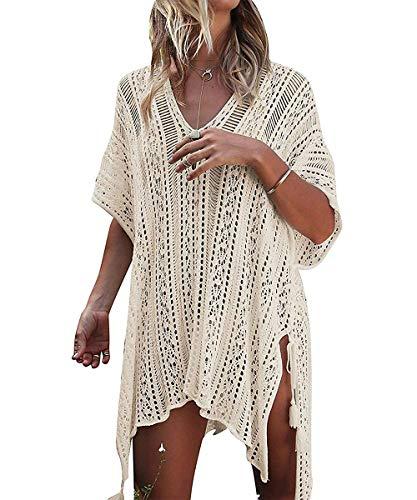 ShinyStar Damen Strandponcho Sommer Gestrickte Strandkleid Bikini Cover Up Boho Sommerkleid Beige Einheitsgröße