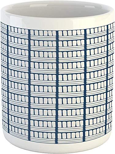 Koffie Mok 11 oz Thee Beker, Nederlandse Mok, Handgetekende Strepen Delft Patroon Traditionele Holland Folklore Illustratie, Bedrukte Keramische Koffie Mok Water Thee Drankjes Beker, Donker Blauw en Wit