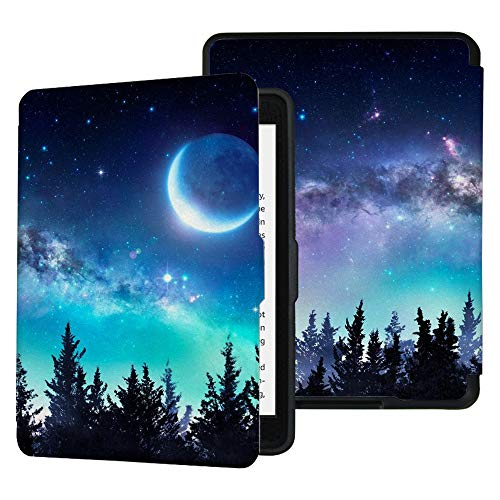 QIYI Folio Case for Kindle Paperwhite Fits All Paperwhite Generations Prior to 2018 (Not Fit All-New Paperwhite 10th Gen) E-Reader Covers PU Leather Smart Cover - Moon Night