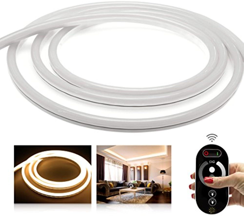 LEDU NeonFlex Premium warmwei LED Set mit Funkcontroller, Fernbedienung und 6A NT (Lnge  9m, 24V, ohne Lichtpunkte, durchgngig leuchtend, 9W m, EEK  A, Anschluss  2 Pol Kabellitze)