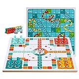 LICHUAN Juego de mesa reversible 2 en 1 Ludo de madera, serpientes y escaleras, juego de ajedrez volador juego familiar juguete para adultos y niños como regalo