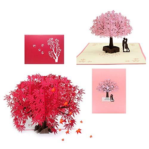 behone 2 piezas tarjetas 3D Pop Up, Hoja de Arce Romántica Tarjeta & Sakura Romántica Tarjeta Cumpleaños, Tarjetas de Felicitación, Tarjeta de San Valentín con Sobre para bodas, día de San Valentín