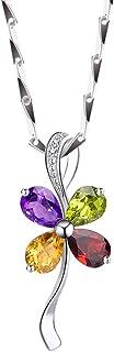 Necklace Four Leaf Clover Pendant Necklace Four-color Crystal Pendant Necklace, 16/18 Inches Women's Pendants