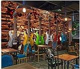 Apoart 3D Papier Peint Mur De Briques De Guitare Électrique Rétro Ktv Murale Mur De Fond 200Cmx140Cm