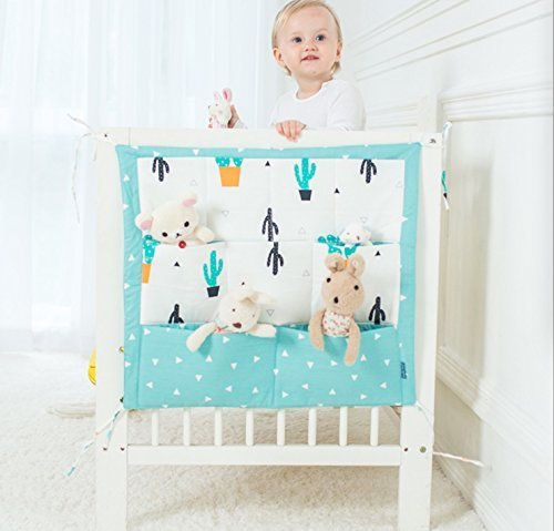 Muslim Tree Playard Nursery Hanging Organizer and Diapers Organizer | Baby Diaper Caddy | Universal Fit for Hanging on All Playards | Store Toys Books and More (Green Cactus)