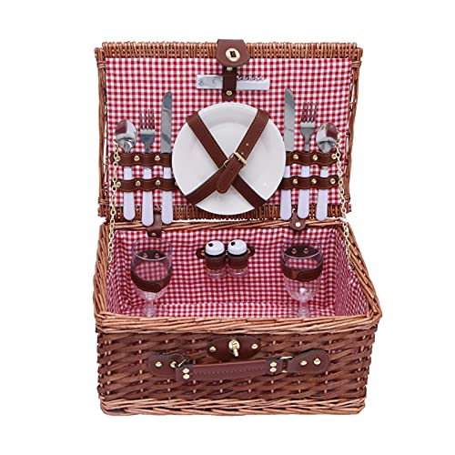 AleXanDer1 Cesta de picnic de mimbre, cesta de pícnic, cesta de picnic con tapa, cesta de almacenamiento al aire libre, juego premium con platos copas de vino