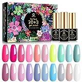 MEFA Gel Nagellack Set 23 PCS, Pink Gel Nagellack Set Nude Farben Gel Nail Polish mit Base Matte Top Coat für Nail Art Salon Design Maniküre Set DIY at Home