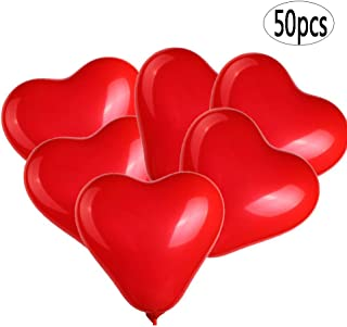 BinaryABC Red Heart Shaped Latex Balloons,Mother Day Balloons,Valentine's Day Engagement Wedding Party Decorations,10Inch,50Pcs(Red)