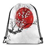 IUBBKI Mochila con cordón con estampado, flores y sol rojo, símbolo de Japón,...