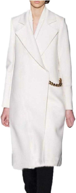 Zimase Women's Wool Blends Cardigan Fashional Notch Collar Worsted Coat