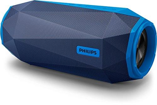 Philips SB500A/00 ShoqBox Bluetooth Lautsprecher (Wasserfest, LED-Licht, 30W) schwarz/blau
