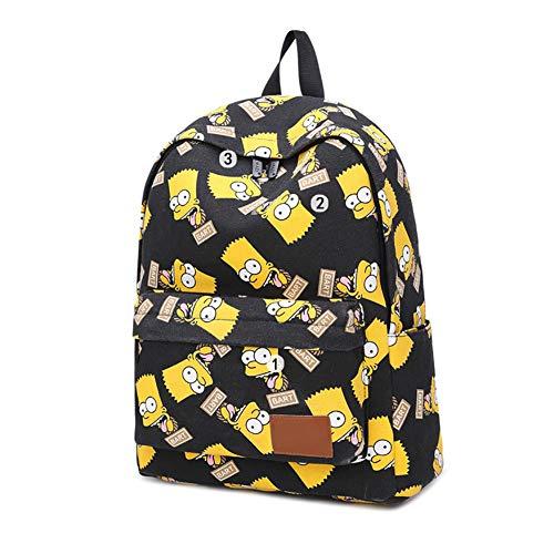 Family Bart Simpsons Rucksack, Leinen, für Schule, Laptop, Reisen