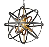 Decomust 24' Rustic Vintage Pendant Orb Chandelier Light Black and Brass Iron Steel Frame Sphere Globe Ceiling Light Fixture Lamps