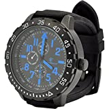 Smith & Wesson Men's Calibrator Watch, 5 ATM, Stainless Steel Caseback, Black Rubber Strap, Blue Numbers, 51mm