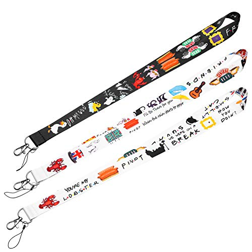 CY2SIDE 3pcs Friends TV Show Themed Badge Lanyards, Phone String Holder for Adults, Friends Themed Keychain Badge Holder for Kids, Lanyard Holders for ID Badges, Name Tag, Phone String Strap with Hook