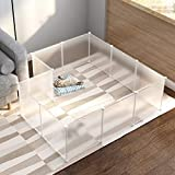 NATRKE Pet Playpen for Small Animals, Portable Plastic Translucent Pet Playpen Animal Fence for Small Animals, Cat, Rabbit, Ferret, Guinea Pig, Outdoor & Indoor, Bunny, with 12 Panels